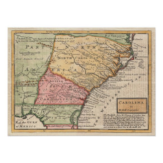Vintage Map of the Carolinas (1746) Poster