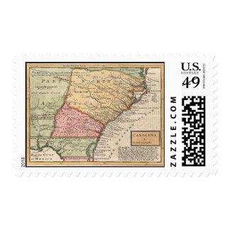 Vintage Map of the Carolinas (1746) Stamp