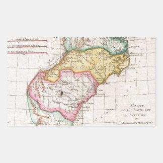 Vintage Map of The Carolinas (1780) Rectangular Stickers