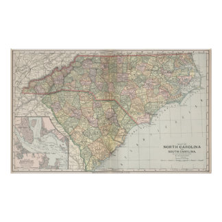 Vintage Map of The Carolinas (1891) Poster