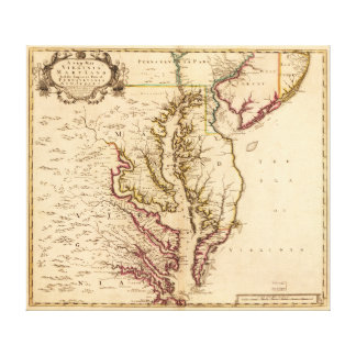 Vintage Map of The Chesapeake Bay (1719) Canvas Print