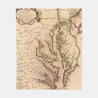 Vintage Map of The Chesapeake Bay (1719) Fleece Blanket