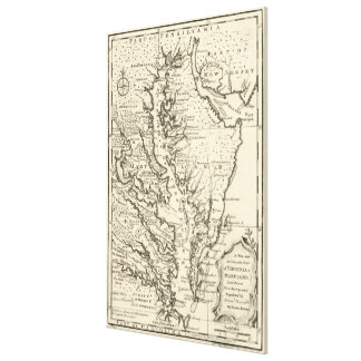 Vintage Map of The Chesapeake Bay (1752) Canvas Print