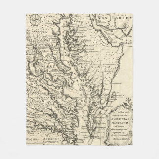 Vintage Map of The Chesapeake Bay (1752) Fleece Blanket