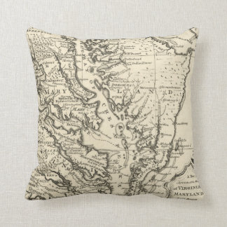 Vintage Map of The Chesapeake Bay (1752) Throw Pillow