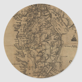 Vintage Map of The Chesapeake Bay (1778) Classic Round Sticker