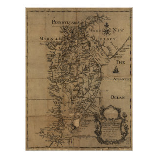 Vintage Map of The Chesapeake Bay 1778 Posters