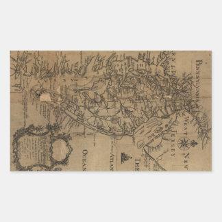 Vintage Map of The Chesapeake Bay (1778) Rectangular Sticker