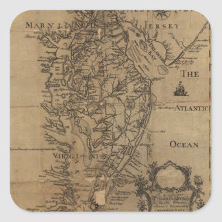 Vintage Map of The Chesapeake Bay (1778) Square Sticker
