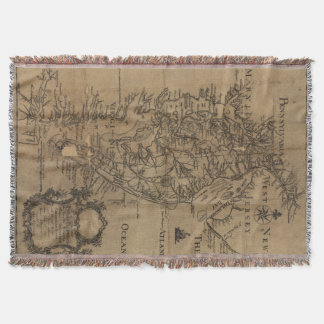 Vintage Map of The Chesapeake Bay (1778) Throw