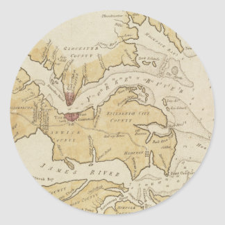 Vintage Map of The Chesapeake Bay (1781) Classic Round Sticker
