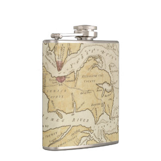 Vintage Map of The Chesapeake Bay (1781) Hip Flasks