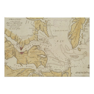 Vintage Map of The Chesapeake Bay 1781 Poster