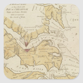Vintage Map of The Chesapeake Bay (1781) Square Sticker