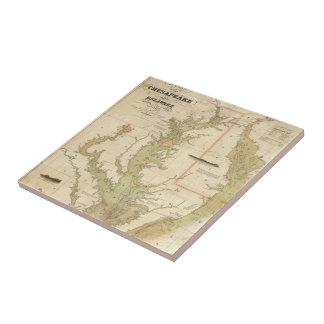 Vintage Map of The Chesapeake Bay (1840) Ceramic Tile