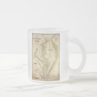 Vintage Map of The Chesapeake Bay (1840) Frosted Glass Coffee Mug
