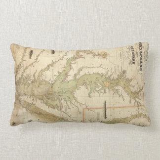 Vintage Map of The Chesapeake Bay (1840) Lumbar Pillow