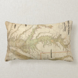 Vintage Map of The Chesapeake Bay (1840) Throw Pillows