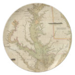 Vintage Map of The Chesapeake Bay (1840) Dinner Plate