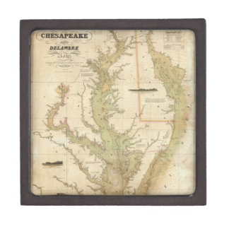 Vintage Map of The Chesapeake Bay (1840) Premium Trinket Boxes