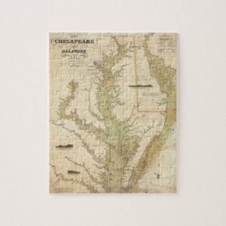 Vintage Map of The Chesapeake Bay (1840) Jigsaw Puzzles