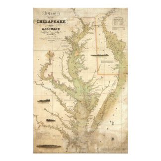 Vintage Map of The Chesapeake Bay (1840) Stationery