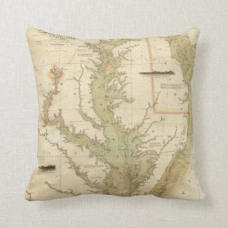 Vintage Map of The Chesapeake Bay (1840) Throw Pillow