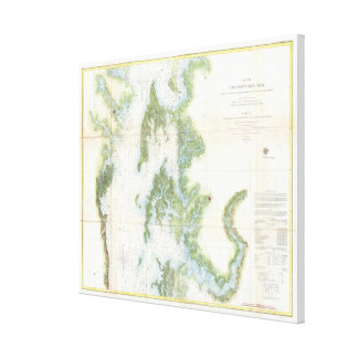 Vintage Map of The Chesapeake Bay (1857) Canvas Print