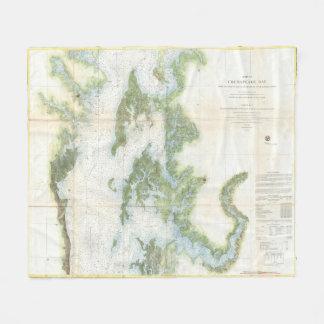 Vintage Map of The Chesapeake Bay (1857) Fleece Blanket