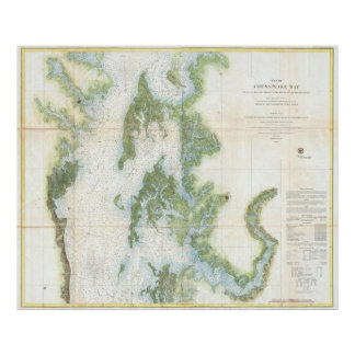 Vintage Map of The Chesapeake Bay (1857) Poster