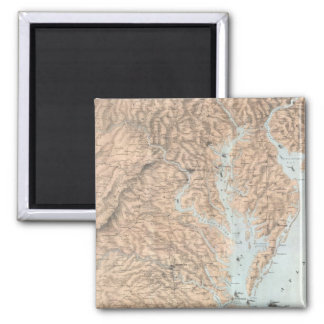 Vintage Map of The Chesapeake Bay (1861) 2 Inch Square Magnet