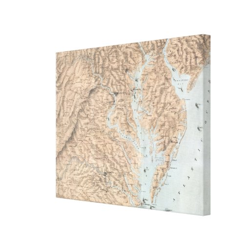 Vintage Map of The Chesapeake Bay (1861) Canvas Print