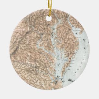 Vintage Map of The Chesapeake Bay (1861) Ceramic Ornament