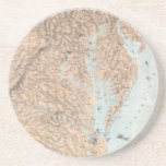 """Vintage Map of The Chesapeake Bay (1861) Drink Coaster<br><div class=""""desc"""">This is a vintage map of the Chesapeake Bay produced in 1861.</div>"""