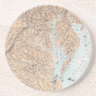 Vintage Map of The Chesapeake Bay (1861) Drink Coaster
