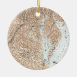 Vintage Map of The Chesapeake Bay (1861) Double-Sided Ceramic Round Christmas Ornament
