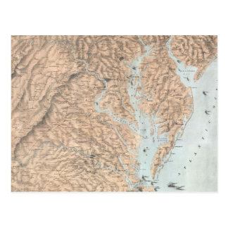Vintage Map of The Chesapeake Bay (1861) Postcard