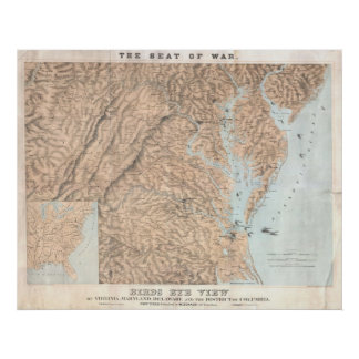 Vintage Map of The Chesapeake Bay 1861 Poster