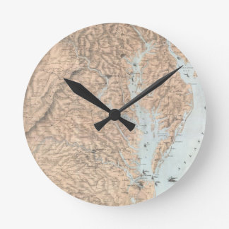 Vintage Map of The Chesapeake Bay (1861) Round Clock