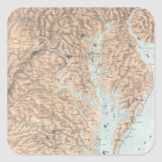 Vintage Map of The Chesapeake Bay (1861) Square Sticker