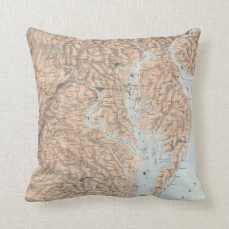 Vintage Map of The Chesapeake Bay (1861) Throw Pillow
