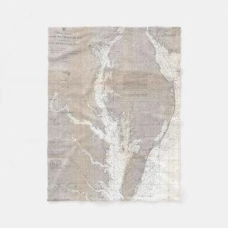 Vintage Map of The Chesapeake Bay (1866) Fleece Blanket