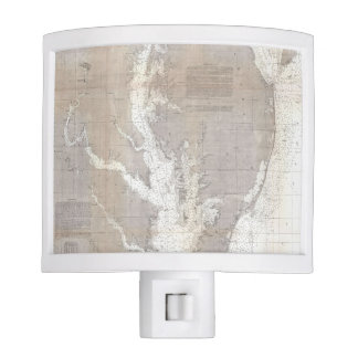 Vintage Map of the Chesapeake Bay (1866) Night Light