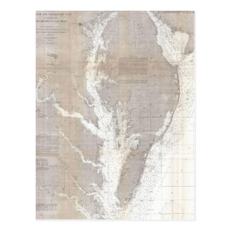 Vintage Map of the Chesapeake Bay (1866) Postcard