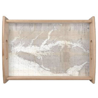 Vintage Map of the Chesapeake Bay (1866) Serving Tray