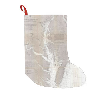 Vintage Map of the Chesapeake Bay (1866) Small Christmas Stocking