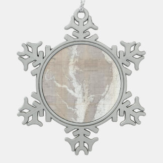 Vintage Map of The Chesapeake Bay (1866) Snowflake Pewter Christmas Ornament