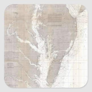 Vintage Map of the Chesapeake Bay (1866) Square Sticker