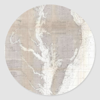 Vintage Map of the Chesapeake Bay (1866) Classic Round Sticker