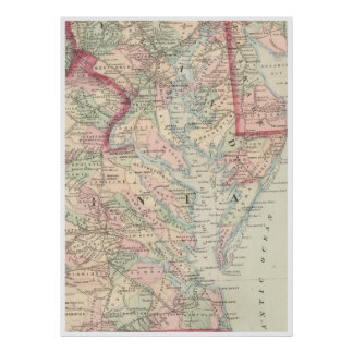 Vintage Map of The Chesapeake Bay (1875) Poster